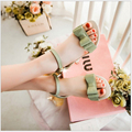 fashion rome style lovely bowtie ankle strap widges buckle patent genuine leather summer Flat sandals for women drop shippingMQ7