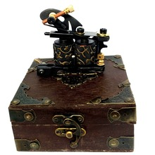 Custom Tattoo Machine Pro Tattoo Gun Dual 10 Wrap Coil Liner Lining Shader Shading With Classical Tattoo Machine Box