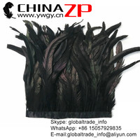 CHINAZP Wholesale Price for per Yard Width 14 16 inch Top Quality Black Coque Rooster Tail Feather Fringe Trim for Clothes Decor