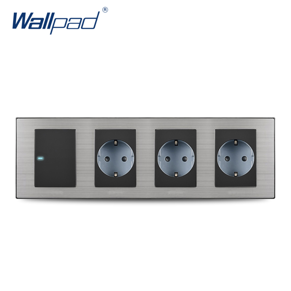 2018 Wallpad Hot Sale 1 Gang 2 Way Switch With 3 EU Socket Schuko Luxury Wall Electric Power Outlet German Standard 308*86mm 15a 16a south africa socket and double ubs socket wallpad 146 86mm white glass 2 usb ports and 16a sa switched socket with led