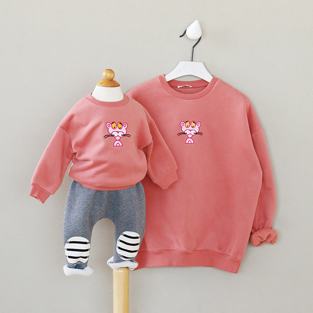 family clothes new fashion winter mother and kids clothing soild color cotton cartoon casual long sleeve sweater for baby kids