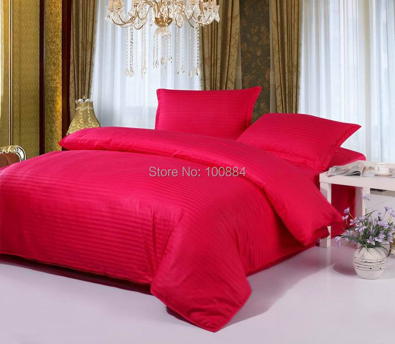 Bedding Sets Home Textile Good Red Color Wedding Striped Bed Linen King Size,hotel Bedding Sets,flat/fitted Bed Sheet Hotel Bedspreads,king/queen/full/twin
