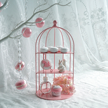 Bird cage shape wrought iron cake stand Pink bird snack Wedding dessert table props Cake display