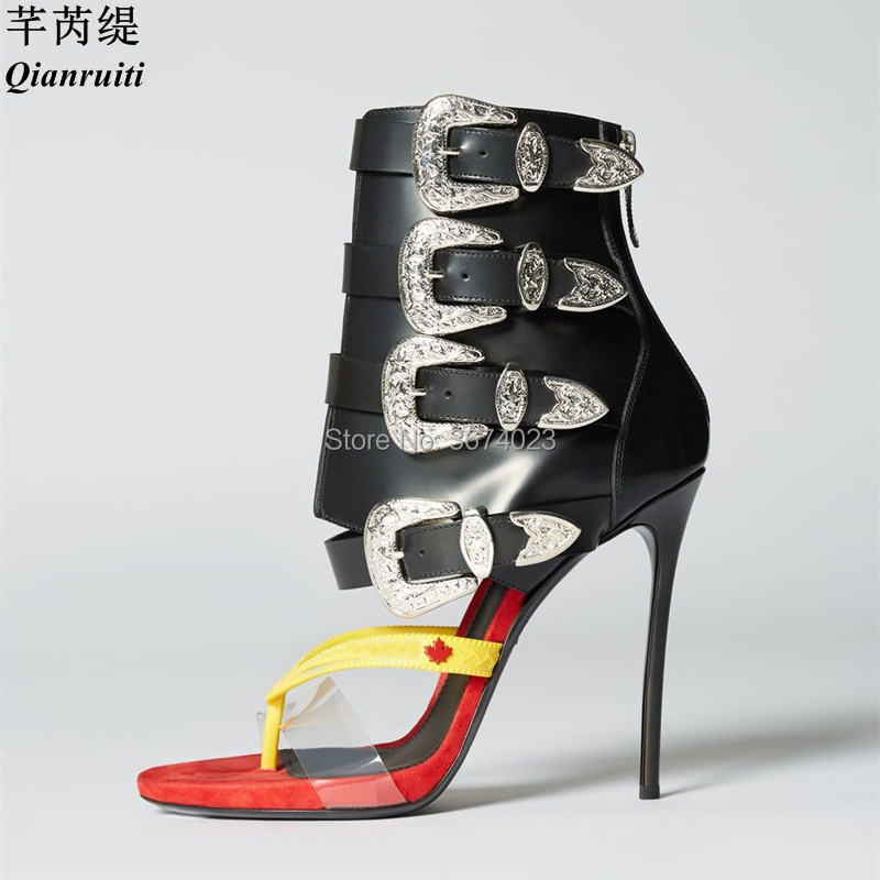 91e518d0984fb Qianruiti 2018 Summer Women Gladiator Thong Sandals Western-Inspired  Buckles Back zip Patchwork high Heels