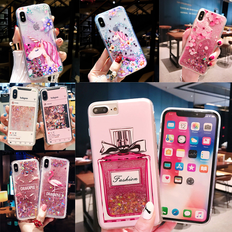 Liquid Case For Samsung Galaxy S6 S7 Edge S8 S9 Plus A3 A5 A7 2016 17 A8 2018 Cartoon Unicorn Perfume bottle Soft Silicone Cover