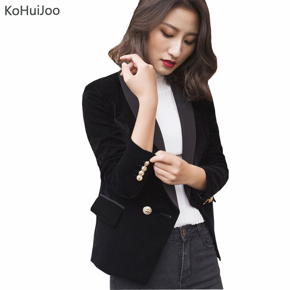 KoHuiJoo 2019 Spring  Black Velvet Blazer Women Slim Golden Button Slim Long Sleeve Casual Blazers and Jackets with Pockets