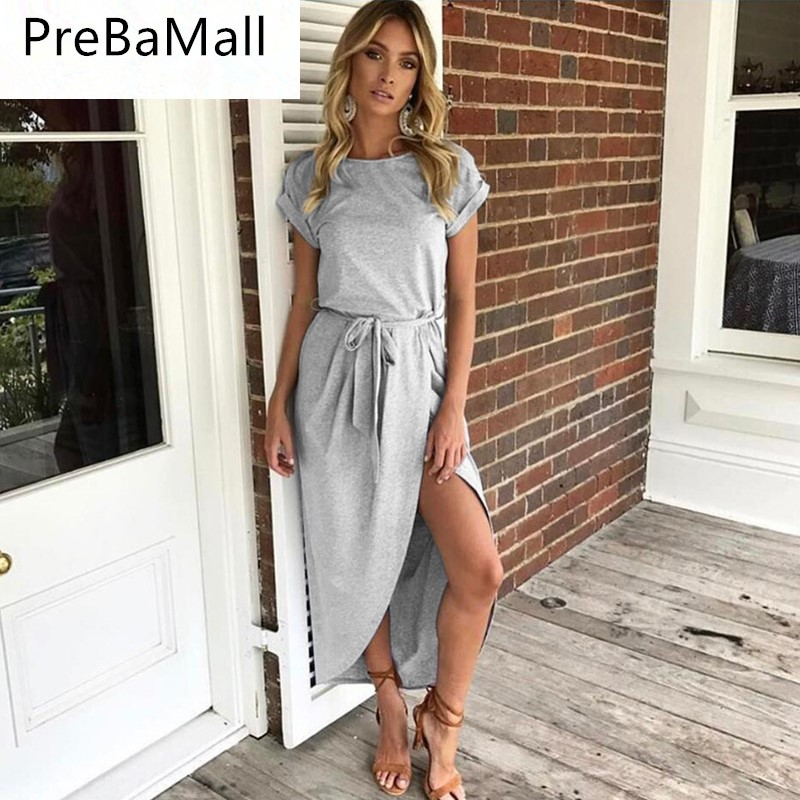 Ladies Sheath Summer Dress Women New Casual Sexy Deep V High Fork Long Dress Female Elegant Bohemian Beach Party Dresses C20 in Dresses from Women 39 s Clothing
