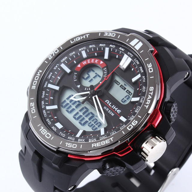 Top Brand Men's Quartz Digital Watch Men Sports Watches Relogio Masculino ALIKE Relojes LED Military Waterproof Wristwatches