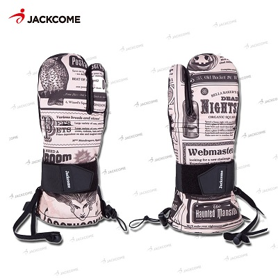 JACKCOME snowmobile Ski Gloves Cartoon yellow peopleWaterproof Skiing Snowboard Mitten Windproof Leather Warm Snowmobile Gloves