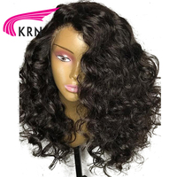 KRN 13X6 Deep Part Short Lace Front Human Hair Wigs 8 24 Inch 130 Density Curly Remy Hair Brazilian Wigs Pre Plucked Hairline