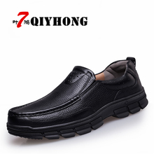 QIYHONG Men's Genuine Leather Shoes Business Dress Moccasins Flats Slip On New Men's Casual Shoes Dress Mens Oxford Shoes 38-47
