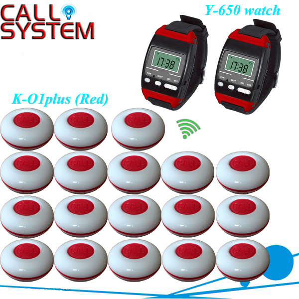 Wireless Restaurant Pager Waiter Guest Calling System(Pager and Receiver) 18 push to call button and 2 watch pager