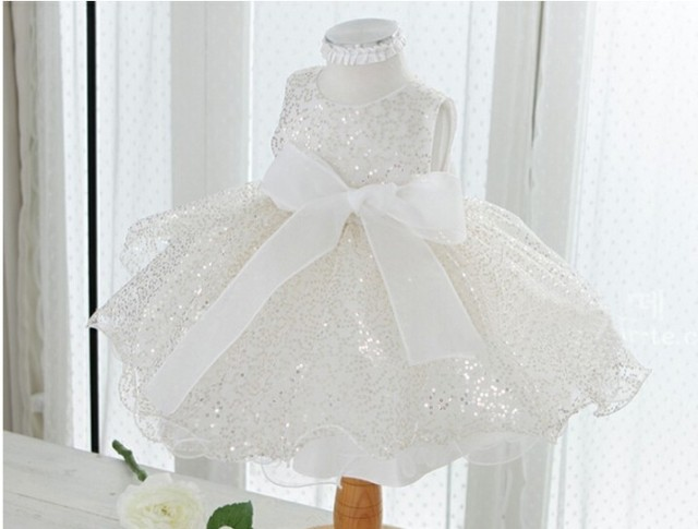 New white pink Sequin bow baby girls bautizo baptism christening gown wedding party dress,1 year birthday dresses for Infant