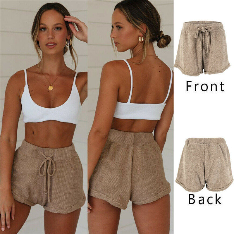 Fashion Women Hot Summer Casual Loose Shorts High Waist Folding Bow Brown Shorts