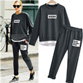 2 Pieces Set Female Letter Print Tracksuits Plus Size Sweatshirt + Pants Trousers Casual Loose Women Suit Outwear