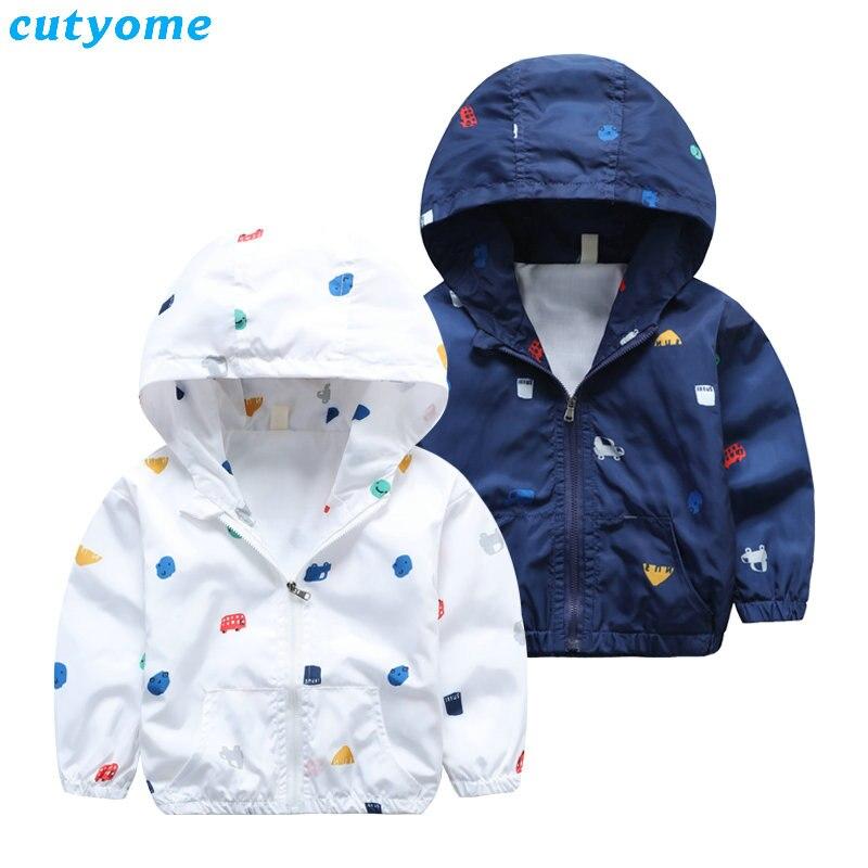 Cutyome дети Куртка, пальто для мальчиков с капюшоном с принтом автомобиля ветровка для детская верхняя одежда Для мальчиков ясельного возраст...