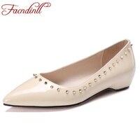 FACNDINLL מסמרת נעלי נשים מותג נעלי דירות נעלי עור אמיתיות נשים משובצים נעלי בלרינות הבוהן מחודדת סקסית גודל 34-39