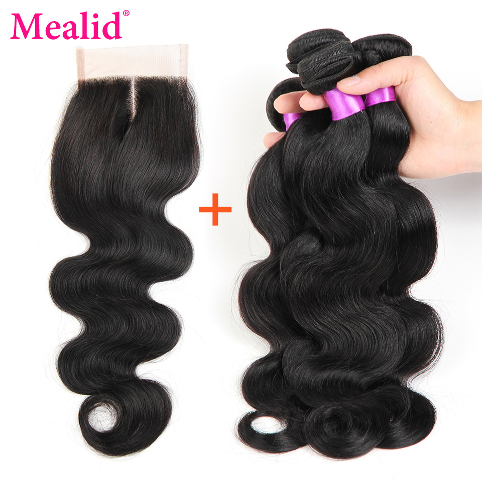 Mealid Brazilian Body Wave With Closure Non-Remy 4 Bundles With Closure Free Middle Three Part Closure Human Hair With Bundles