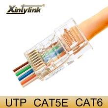 xintylink 1000pcs EZ rj45 cat6 connector network 8P8C unshielded modular plug utp terminals have hole on front