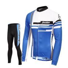 Tasdan Mountain Bike Men s Cycling Jerseys Set Warmers Long Sleeve Shirts with Padded Pants Bike