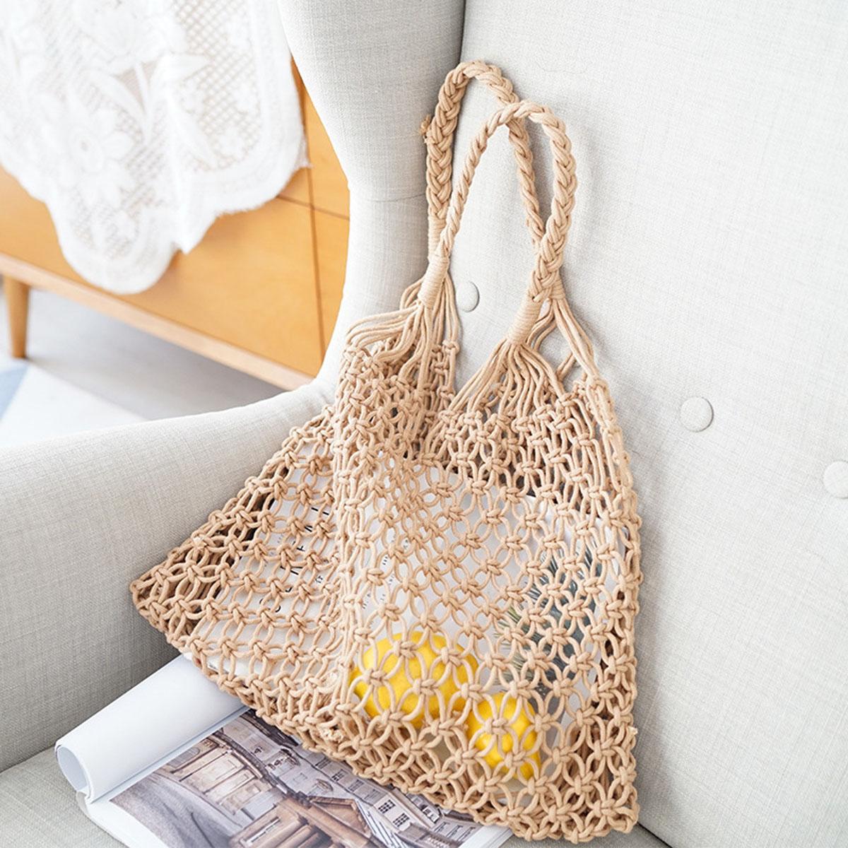 31fe04966d4d Women Straw Crochet Bags Beach Woven Shoulder Handbag Purse Summer ...