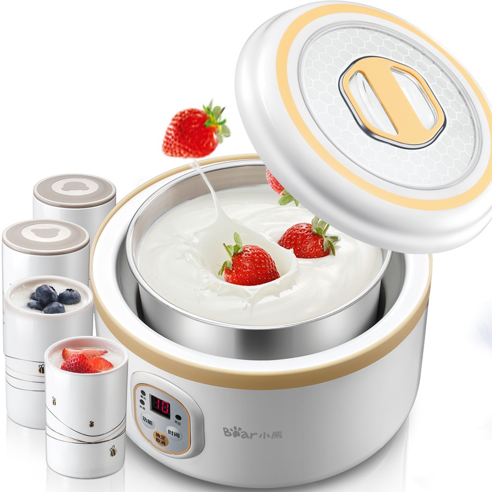 Bear SNJ-A10C1 Household Fully Automatic Yogurt Machine with Porcelain Cup Stainless Steel Liner Rice Wine Natto Yogurt Makers purple yogurt makers rice wine natto machine household fully automatic yogurt glass sub cup liner multifunctional kitchen helper