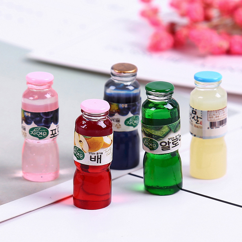 8PCS Slime Charms Juice Drink Bottle Resin Plasticine Slime Accessories Beads Lizun Making Supplies For DIY Scrapbooking Crafts