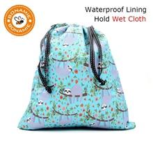 BONAMIE Wet Bikini Bag Fashion Drawstring For Clothes Women Beach Printed Female Handbag Sloth Alpaca Shark NEW 2019