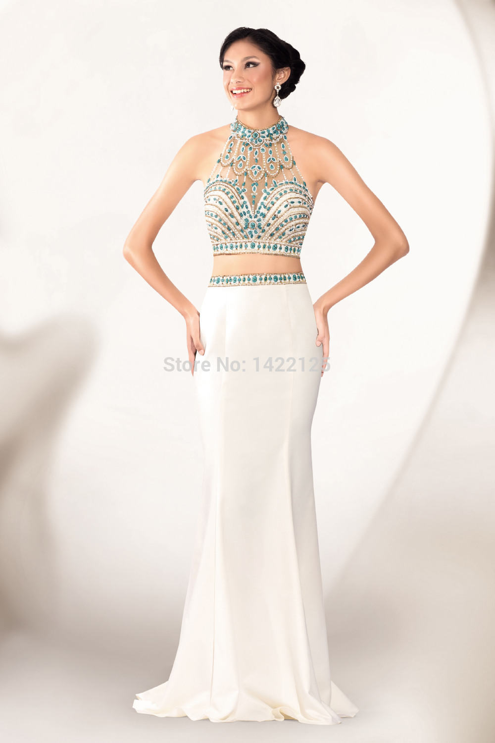 Sexy Mermaid High Neck Two piece 2 Cute Prom Dresses 51127 Beading ...