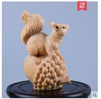 Small yellow poplar wood carving squirrel furnishings home solid wood carving animal crafts office decoration fortune zodiac rat