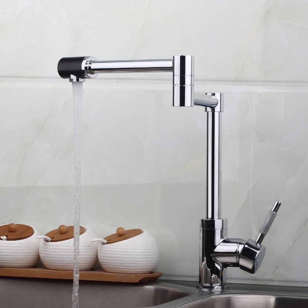 Brand Kitchen Faucet Modern Swivel Spout Chrome Brass Kitchen Faucet Single Handle Hole Mixer Tap N8528