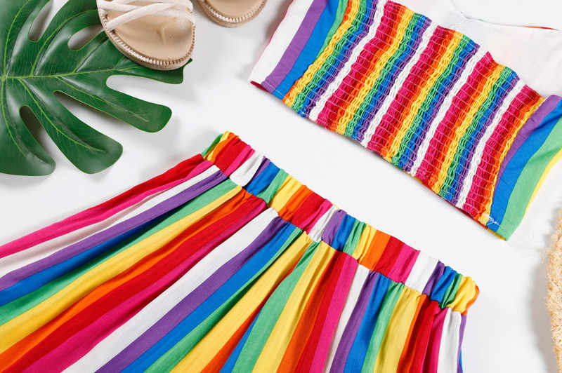 Women Sets Crop Tops Shorts Set 2 Pieces Sets Women Shorts Sexy Women Ladies Rainbow Striped Vest Bandage Shorts Suits #425