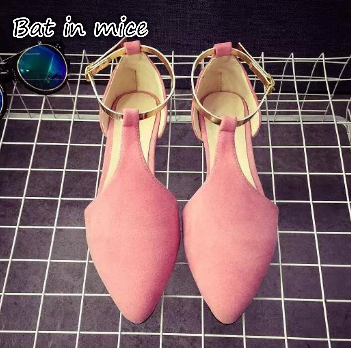 Women T-Strap Moccasins Flat Shoes Low Heel Sandals Black/Gray/Pink Pointed Toe Ballet Flats Summer Buckle Zapatos Mujer Z193 pu pointed toe flats with eyelet strap