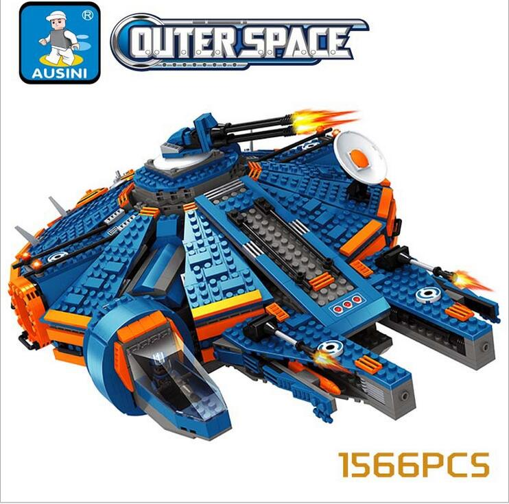 купить Ausini Star Wars Millennium Falcon Outer Space Building Blocks Space Ship Construction Sets Model Compatible With Lego 1566PCS недорого