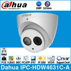 Dahua IPC-HDW4631C-A 6mp hd poe rede mini dome câmera ip caixa de metal embutido mic cctv 30 m onvif ir atualização a partir de IPC-HDW4433C-A