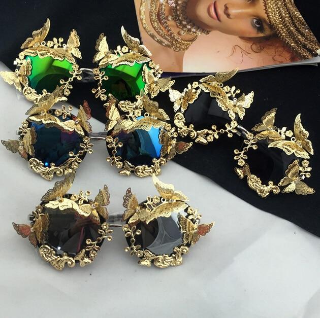 Vintage Retro Sunglasses Women Brand Golden Frame Baroque Sunglasses Luxury Sun Beach Metal gold  Butterfly Flower Sunglasses