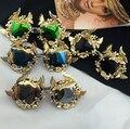 Vintage Retro Sunglasses mulheres marca de ouro quadro barroco óculos de sol de luxo praia de Metal de ouro borboleta flor óculos de sol