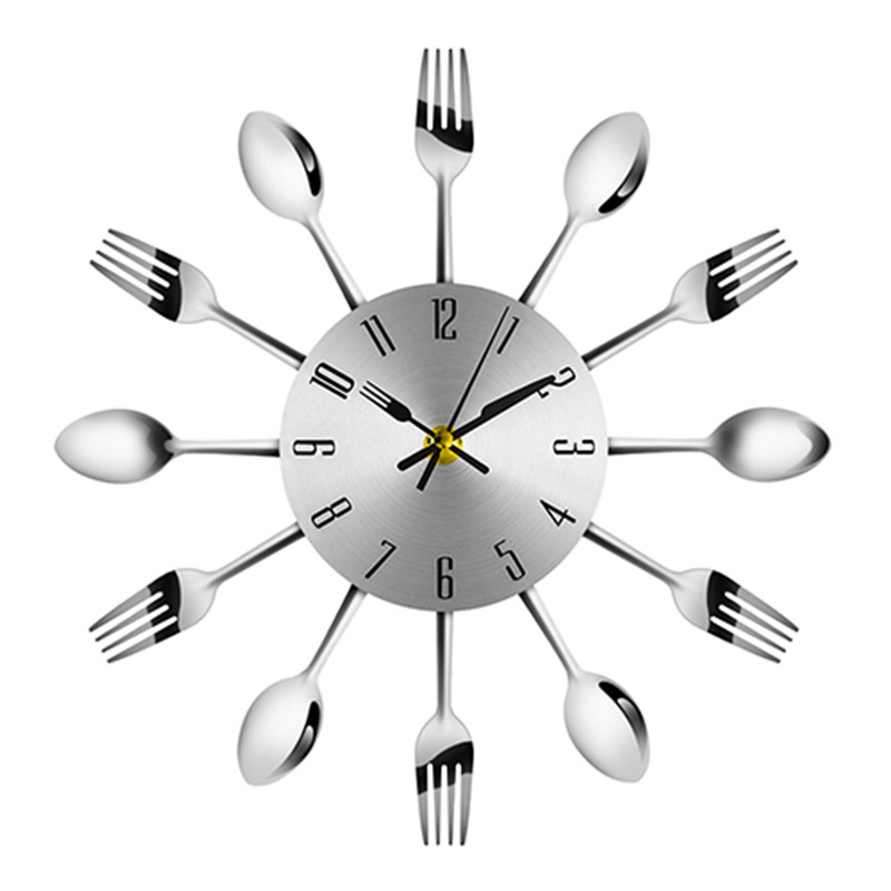 Wall Clock Metal Knife Fork Spoon