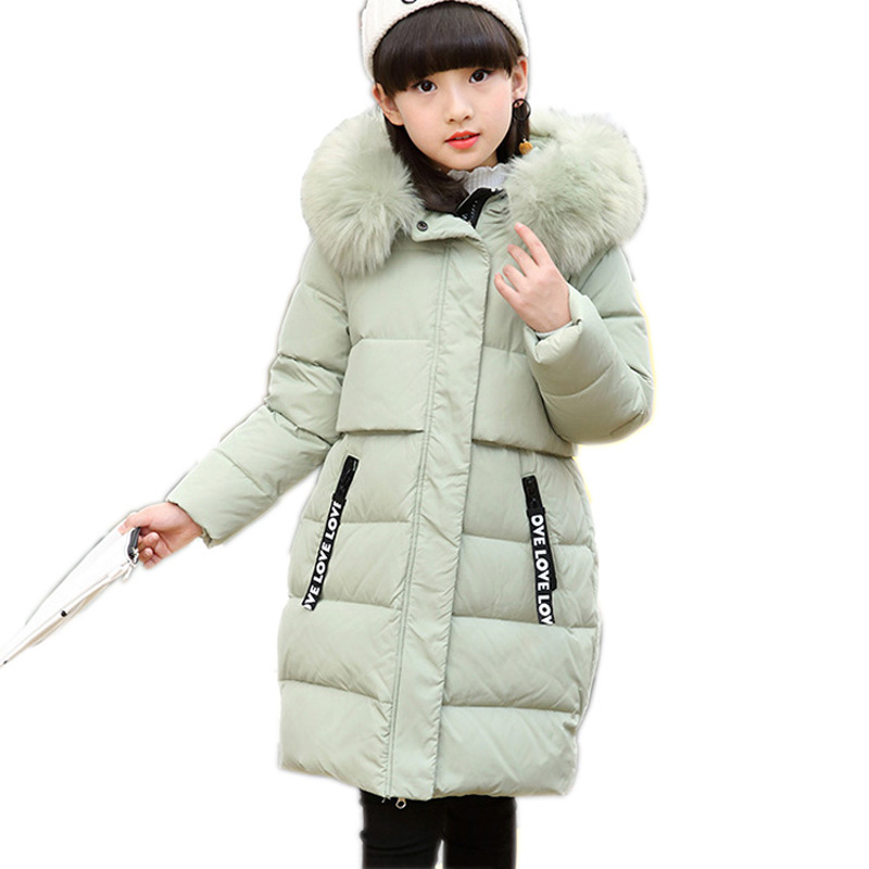 2017 New Girls Duck Down Coat Fashion Long Girls Winter Coat and Jacket Thick Warm Children Outerwear Parka DQ578
