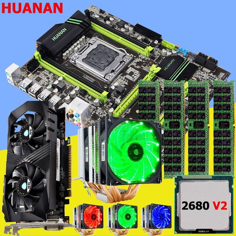 Скидка M.2 mobo HUANAN Чжи X79 материнская плата с ЦПУ Intel Xeon E5 2680 V2 с охладитель Оперативная память 16 г ECC REG видео карты GTX1050Ti 4G