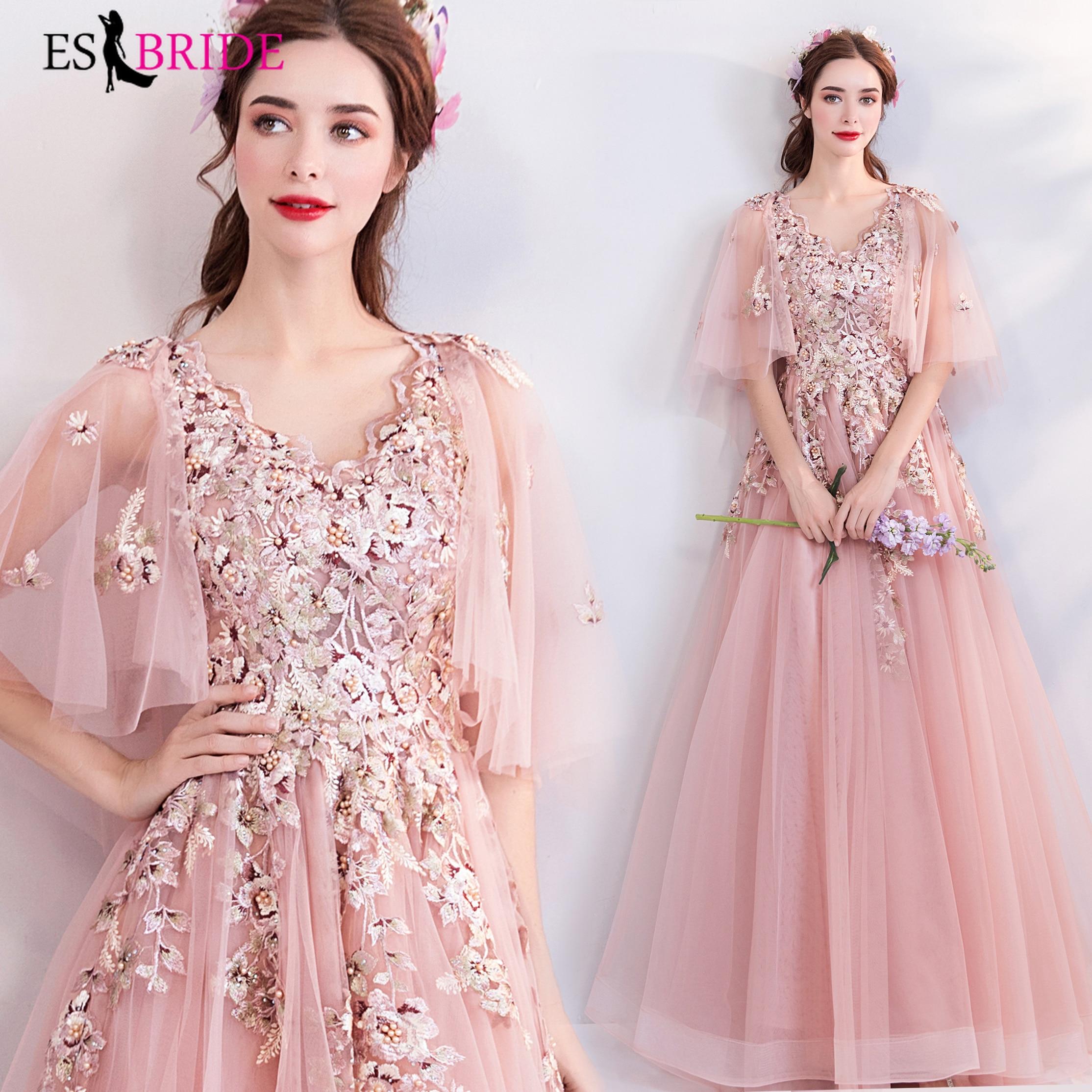 Long   Dresses     Evening   Pink Vestidos De Noche Largos Elegantes De Fiesta 2019 New Muslim   Evening     Dress   Long   Evening   Gown ES2104