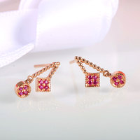 Fashion Ruby Earrings 2016 New Arrival 14K Rose Gold Geometry Design Prong Setting Ruby Stud Earring