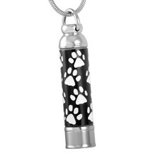 JJ8376 Cremation Jewlery Hot Selling Stainless Steel Paw Print Cylinder Keepsake Memorial Urn Pendant for Pet Ashes Holder(China)