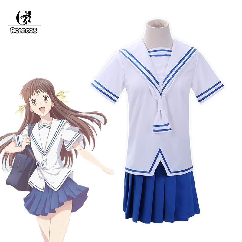 ROLECOS Anime Fruits Basket Cosplay Costume Tohru Honda Cosplay Summer JK Girl School Uniform Women Sailor