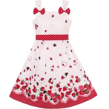 7f660ac7 Girls Dress Cartoon Polka Dot Bow Tie Strawberry Sundress Cotton 2019—Free  Shipping