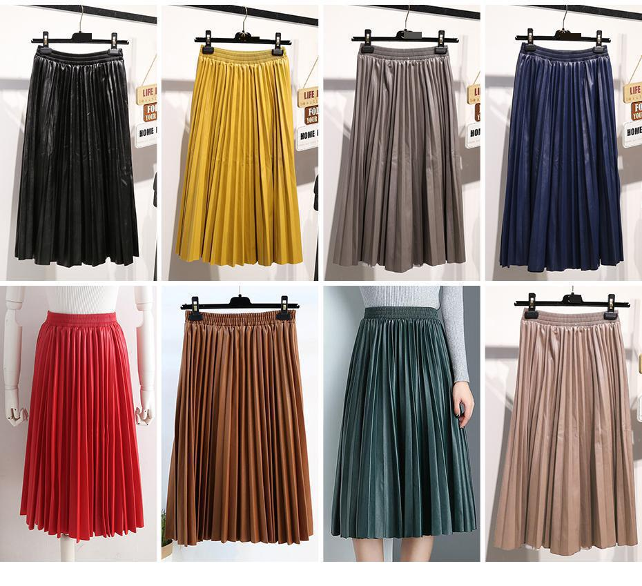 2018 11 11 PU Accordion Pleated Skirt Autumn & Winter New Style Leather Skirt High Waist Faldas Largas Elegantes Free Shipping 19