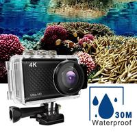 1set Sports Camere Action Mini Camera Touch Screen Ultra HD 4K/30fps WiFi 2.35 170D Underwater 30m Waterproof Helmet Hero Cam