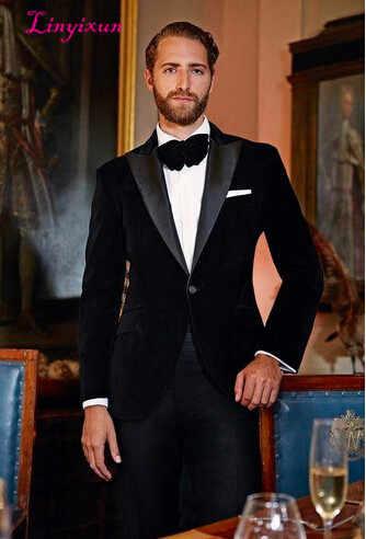 Linyixun 2018 nuevo elegante terciopelo negro novio esmoquin chaqueta negro solapa hombres Blazer Slim Fit traje hombres traje de boda