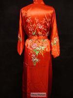 הגעה חדשה נשים סיניות אדום סאטן קימונו אמבט רקמת גלימת משי שמלת פרח גודל S M L XL XXL XXXL משלוח חינם W3S003