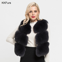 JKKFURS 2019 New Arrival Women Real Fox Fur Vests High Quality Lady Fashion Style Natural Gilet 3 Rows Jackets S7162